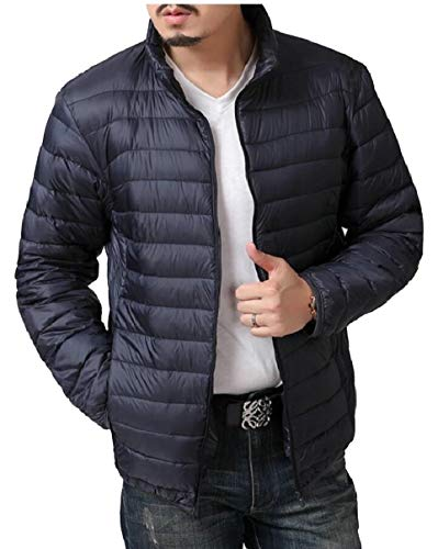 Jackets Packable Men's Down Coat Collar Lightweight security Navy Stand Blue qIp0w7