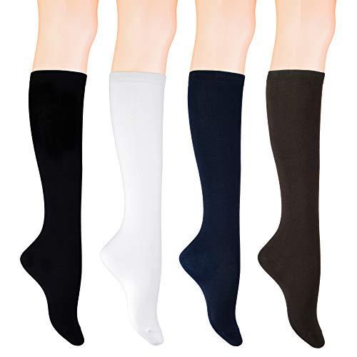 KONY Women's 4 Pairs Casual Knee High Socks Soft Stretch Cotton All Season Gift Size 6-10 (Black 1 + White 1 + Navy 1 + Espresso 1)
