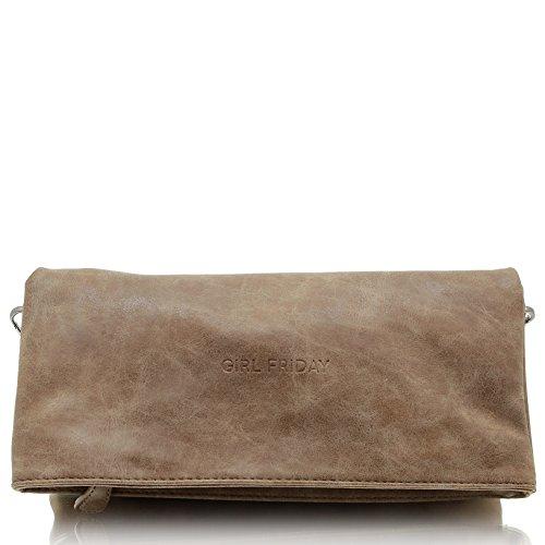 GIRL FRIDAY Clutch INGVILD Damen-Tasche Handtasche Umhängetasche Schultertasche 100% vegan hergestellt, Dunkelbraun