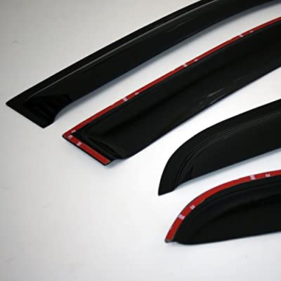 TuningPros WSVT2-675 Sunroof Moonroof Type 2 and Out-Side Mount Window Visor Deflector Rain Guard Dark Smoke 5-pc Set: Automotive
