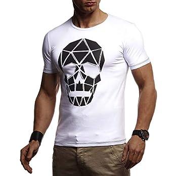 Leif Nelson Herren T-Shirt Totenkopf Slim Fit
