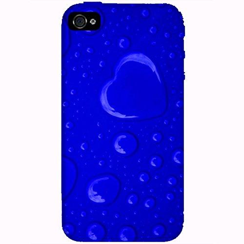 Coque Apple Iphone 4-4s - Coeur de pluie bleu