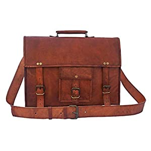 15 Inch Leather Vintage Rustic Crossbody Messenger Courier Satchel Bag Gift Men Women ~ Business Work Briefcase Carry Laptop Computer Book Handmade Rugged & Distressed ~ Everyday Office College School