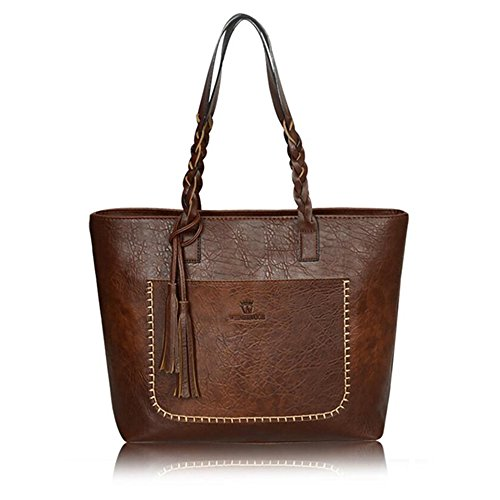 Bag Vertical Purse Tote Satchel B Top Pu Utility Deep 2 Stylish Handbag Life Brwon Women Handle Leather amp;E qOAxH6wY