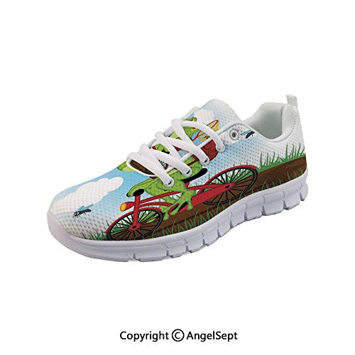 Athletic Running Shoes Frog on a Bike Flies Lightweight Sneakers