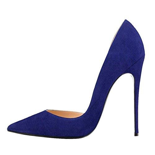 Calaier Kvinna Caprize Pekade Tå 12cm Stilett Slip-on Pumpar Skor Blå