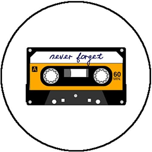 Handmade Badge Button Retro 80s Cassette Never Forget Cassingle Mix Tape Mixtape