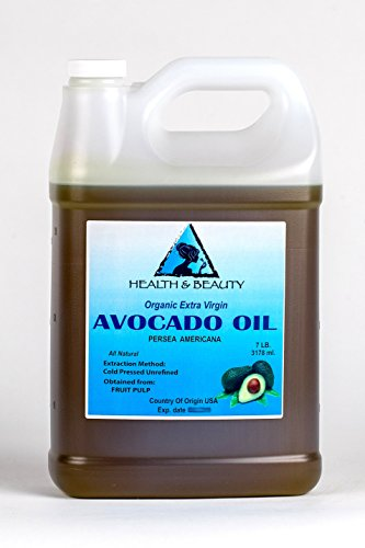 Avocado Oil Extra Virgin Organic Unrefined Cold Pressed Raw Premium Quality Natural Pure 128 oz, 7 LB, 1 gal