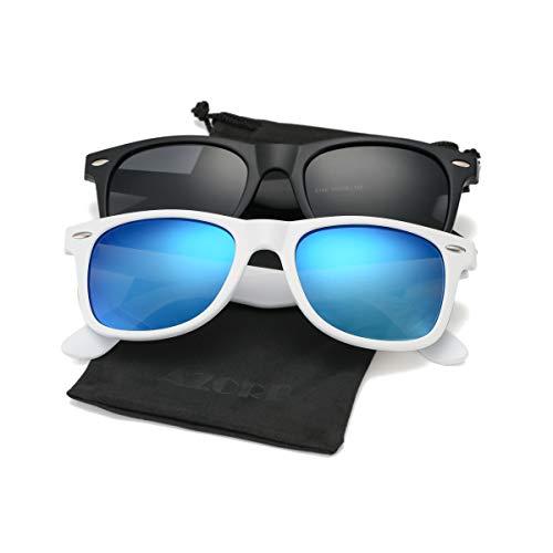 AZORB Classic Polarized Sunglasses Unisex Square Horn Rimmed Design (A96 Matte Black/Black + White/Blue Mirrored, ()