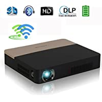 DLP 3D Wireless Bluetooth Projector - Portable Dual WiFi Built-in Battery Airplay Miracast Googleplay Kodi XBMC for Home Theater Cinema, Business, Education, PPT, Presentation