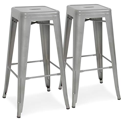 Best Choice Products 30in Set of 2 Modern Industrial Backless Metal Counter Height Bar Stools w Drainage Holes for Indoor Outdoor Kitchen, Bonus Room, Patio – Silver