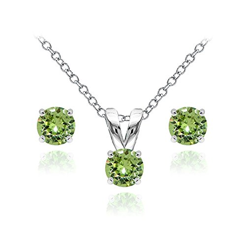 (GemStar USA Sterling Silver Solitaire Light Green Necklace and Stud Earrings Set Created with Swarovski)