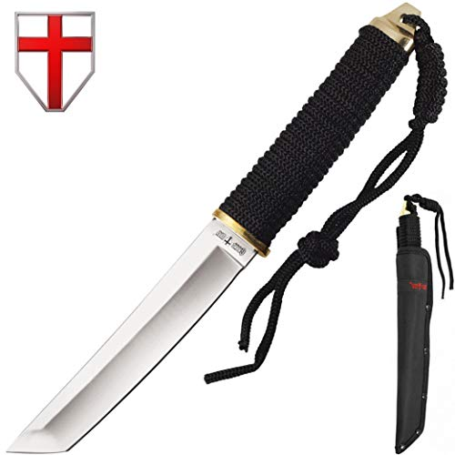 (Grand Way Japanese Fixed Paracord Tanto Knife - Fixed Polished Blade Paracord Handle 2307 )
