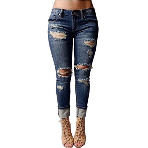 VICVIK Women Knee Skinny Denim Distressed Ripped Boyfriend Jeans (M)