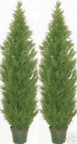 Two 5 Foot Artificial Topiary Cedar Trees Potted Indoor Outdoor Plants (Plants Trees Outside And Artificial)