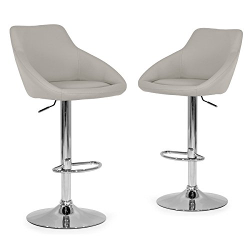 Glamour Home Décor Set of 2 Alani Ashy Grey Adjustable Height Swivel Barstool in Faux Leather For Sale