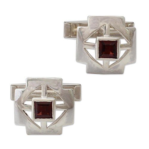 (NOVICA Garnet .925 Sterling Silver Men's Cufflink, Cross')