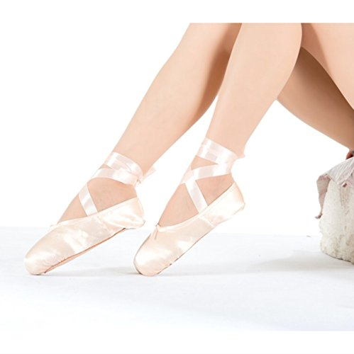 High Quality Ladies Professional Ballet Pointe Dance Shoes with Ribbons Size 7 Us