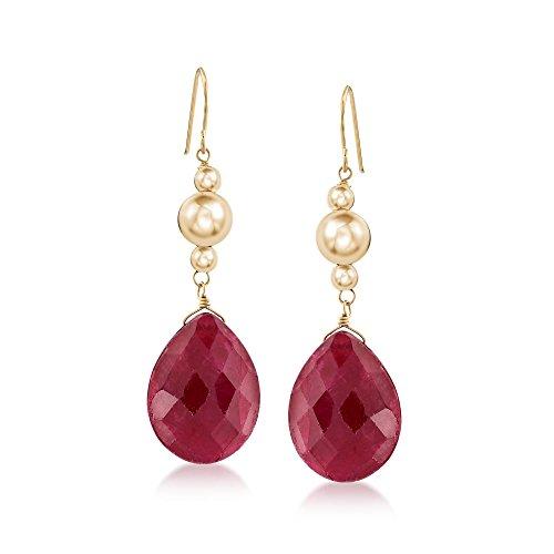 Ross-Simons 20.00 ct. t.w. Ruby Drop Earrings in 14kt Yellow (Ruby Ring 14kt Gold Jewelry)