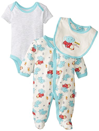 Vitamins Baby Baby-Boys Newborn Elephant 3 Piece Footed Coverall Set, Ivory, New Born