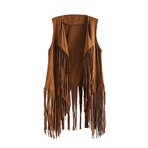 Tsmile Women Autumn Winter Cardigan Faux Suede Ethnic Sleeveless Tassels Fringed Vest (Large, Khaki)
