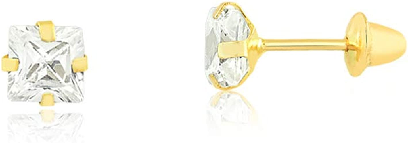 Girls and Teens 18k Solid Yellow Gold Diamond Shaped Push Backs Stud Earrings for Women