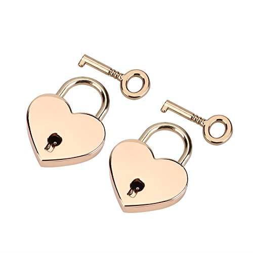 2 Set Heart Shape Padlock, Rose Gold Heart Love Padlocks with Key for Luggage Handbag Diary Valentine's Day Gift
