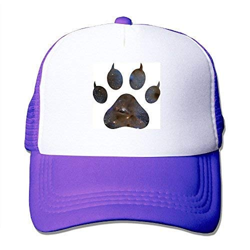 (Les L.Reed Wolf Paw G Galaxy Mesh Trucker Caps/Hats Adjustable for Unisex Black Purple)