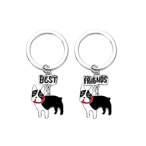bromrefulgenc Key Chain for Women Girl,2Pcs Pet Dog Cat Pendant Best Friend Key Chain Bag Handbag Ornament Charm 6#