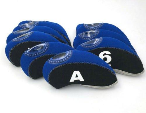 10 pc /セットネオプレンゴルフクラブアイアンヘッドx12保護カバー B077HR5B6Y ブルー