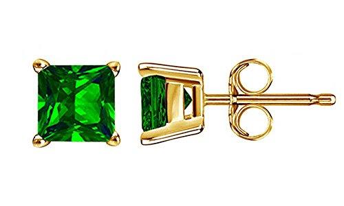 10k Yellow Gold 4mm Princess Cut Simulated Green Emerald Stud Earrings ()