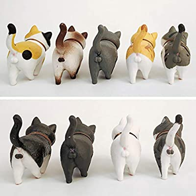 Easter Eggs Decoration Car Home Dollhouse Cake Topper Plant Office Chris.W 9Pcs Cute Cat Figurines Miniature Cats Figures Collection Toy Set