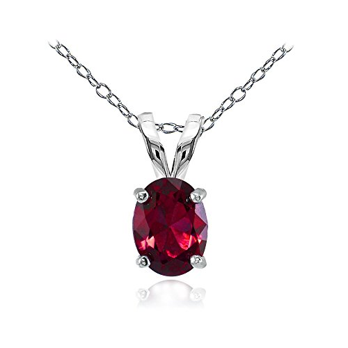 (Sterling Silver Created Ruby 8x6mm Oval Solitaire)
