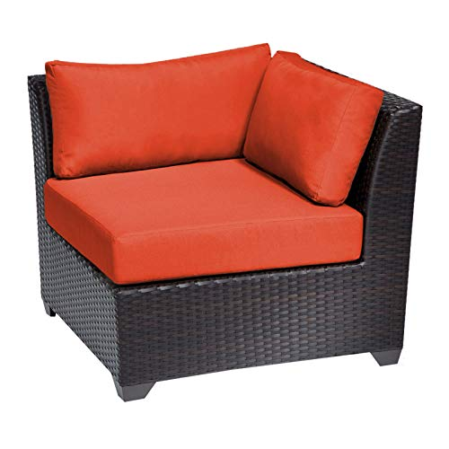 Delacora TKC020b-CS-TANGERINE Barbados Outdoor 35 Inch Wide Aluminum Framed Acrylic Upholstered Outdoor Corner Chair for Sectional TKC-DPF-BAR03c