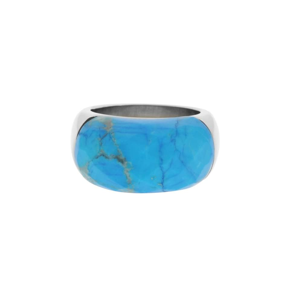 Size 6   Inox Jewelry Womens Turquoise Howlite 316L Stainless Steel Ring