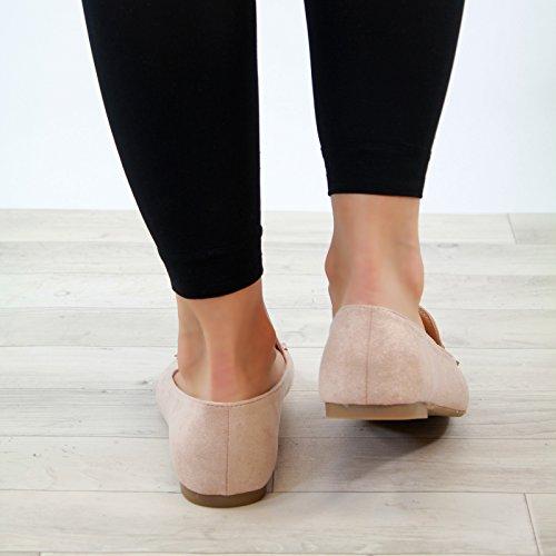 Larena Fashion New Womens Flat Pumps Smart Comfy Slip On Sneakers Casual plimsolls Shoes Blush c5F6I2VM01
