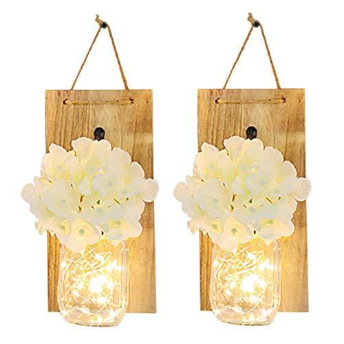 Cozyhoma – Juego de 2 tarros de Pared rústico para decoración del hogar, de Seda, con Tiras de Luces LED de Hadas y…