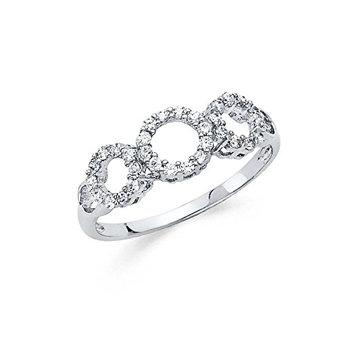 Wellingsale Ladies Solid 14k White Gold CZ Cubic Zirconia Circle Right Hand Fashion Ring - Size 9