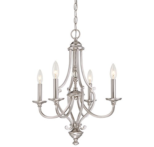 Chandelier Ceiling Savannah (Minka Lavery Minka 3334-84 Transitional Four Light Chandelier from Savannah Row Collection in Pwt, Nckl, B/S, Slvr.Finish, 20.00 Inches B/S 20.00 Inchesfour)