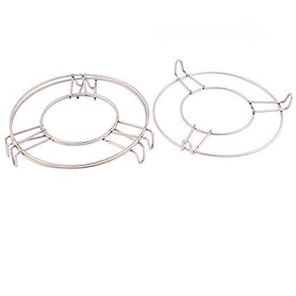 eDealMax redondo de acero inoxidable al vapor bastidor soporte 6 pulgadas x 1 pulgada 3 piezas