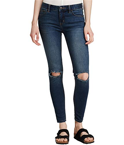 Free People Womens Denim Mid-Rise Skinny Jeans Blue 29