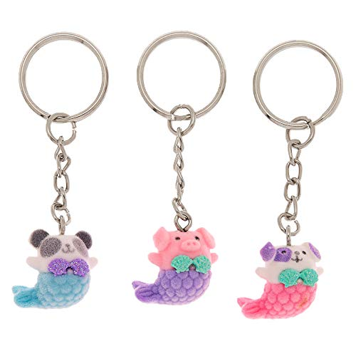 Claire's Girl's Best Friends Mermaid Animal Keychains - 3 Pack (Animal Friends Keychain)