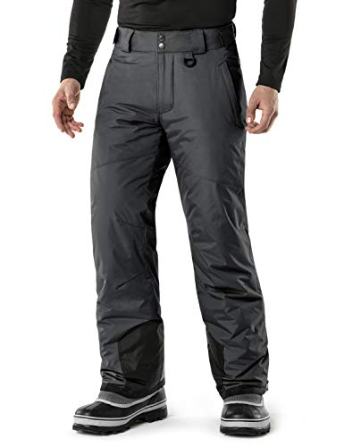 (TSLA Men's Rip-Stop Snow Pants Windproof Ski Insulated Water-Repel Bottoms, Snow Pants(ykb81) - Charcoal, 3X-Large (Waist 41.5-44 Inch).)