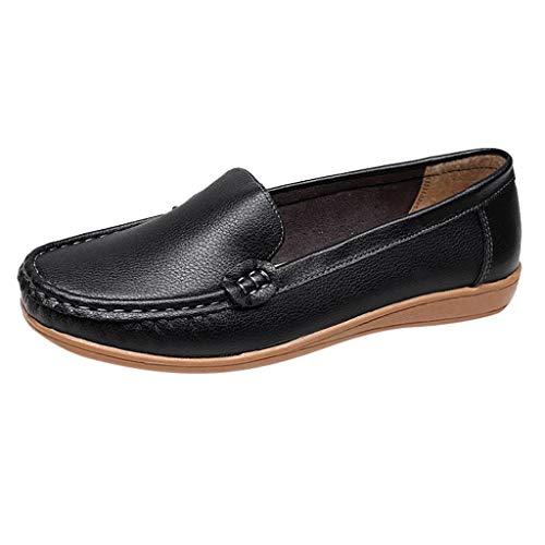 Sunhusing Women's Stylish Slope with Leather Flat Bottom Shoes Comfortable Breathable Walking Shoes Black ()