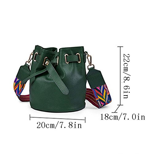 Women's Leather Bucket Darkgreen Handbag Wild Messenger Bag Korean Bag Bag Shoulder Bag Shoulder Bag Fashion Handbag Hand Leather rn8qwrCvT