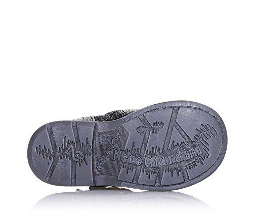 NERO GIARDINI - Bottine noire en cuir et paillettes, glissière latérale, boucle décorative, coutures visibles et semelle en caoutchouc, Fille, Filles