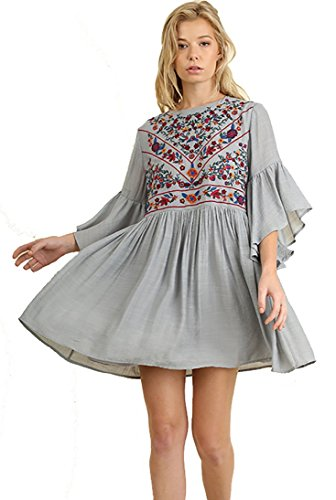 Umgee BoHo Bliss! Mandy and Ally Embroirdered Bell Sleeve Dress, Cool Grey, Medium