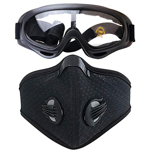 Outgeek Dusk Mask Activated Carbon Dustproof Sport Mask Running Mask with Sport Goggles