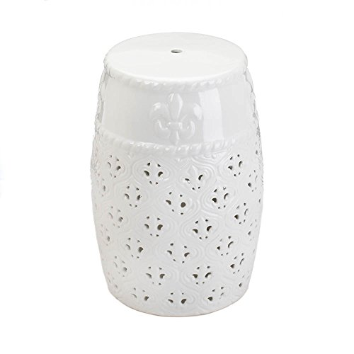Zingz and Thingz Fleur De Lis Ceramic Stool in White by Zingz & Thingz