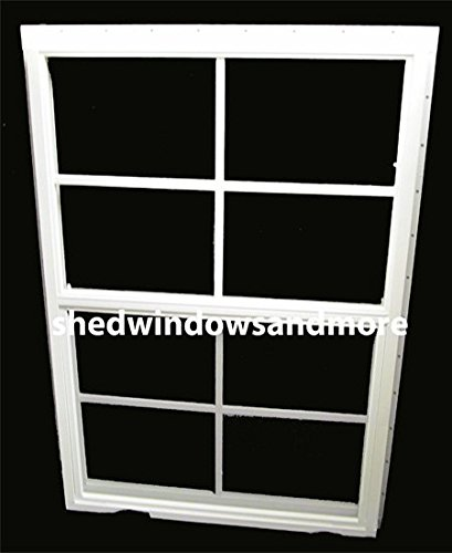 """Shed Windows 24"""" X 36"""" White J-Channel Mount, SAFETY/TEMPERED GLASS, Playhouse Windows, Chicken Coop Windows"""
